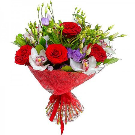 Букет из красных роз, сиреневых эустом и белых орхидей