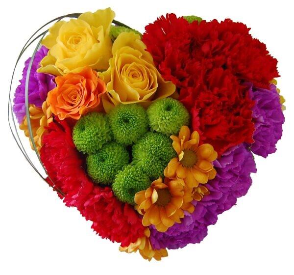 Сердце из жёлтых роз, хризантем, красных и фиолетовых гвоздик
