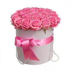 Коробка розовых роз