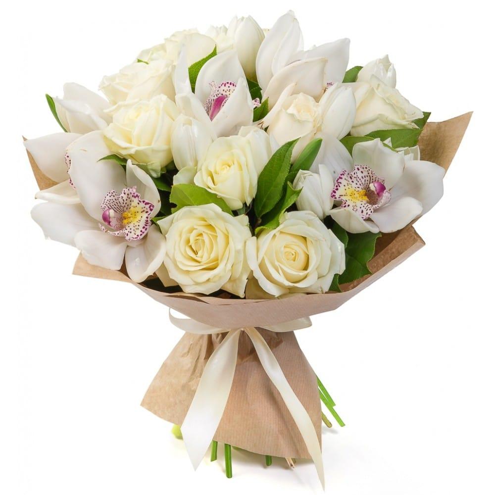 Невесты, букет белые тюльпаны с розами