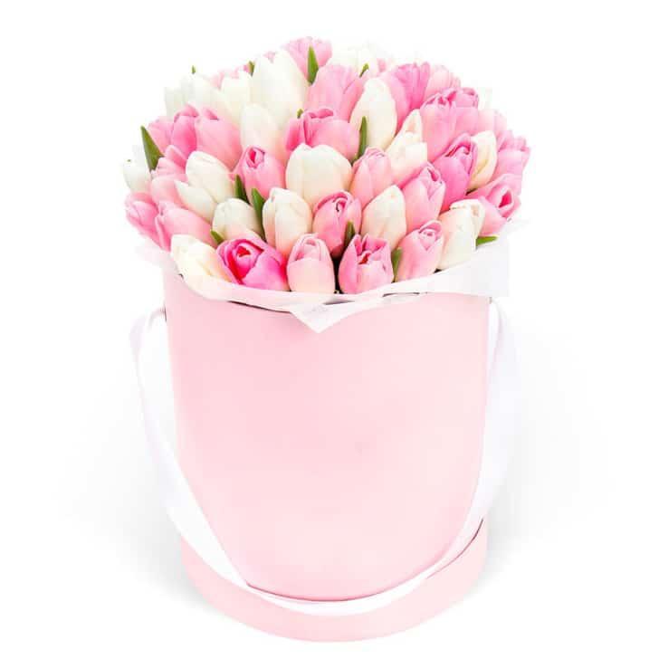 белые и розовые тюльпаны в коробке