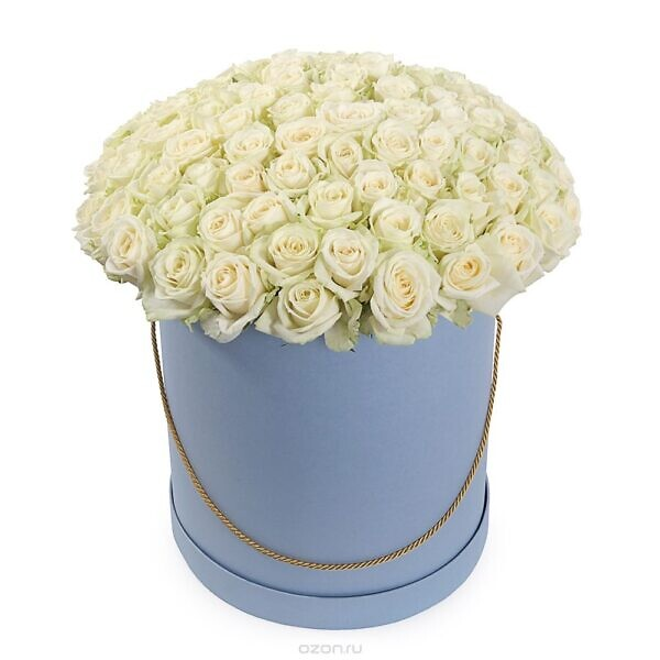 101 белая роза в коробке
