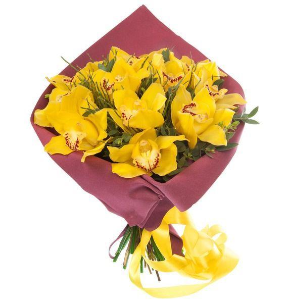 букет из жёлтых орхидей