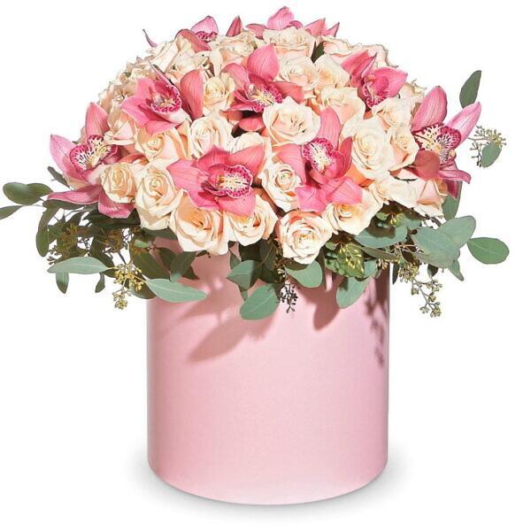 коробка роз и орхидей