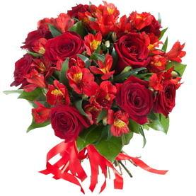 букет красных роз и альстромерий