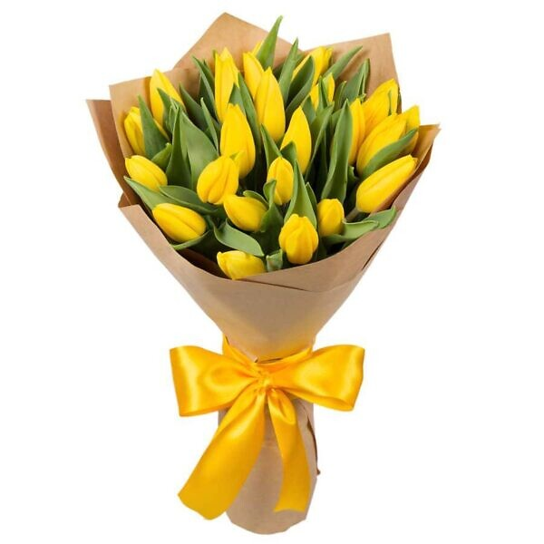 25 жёлтых тюльпанов
